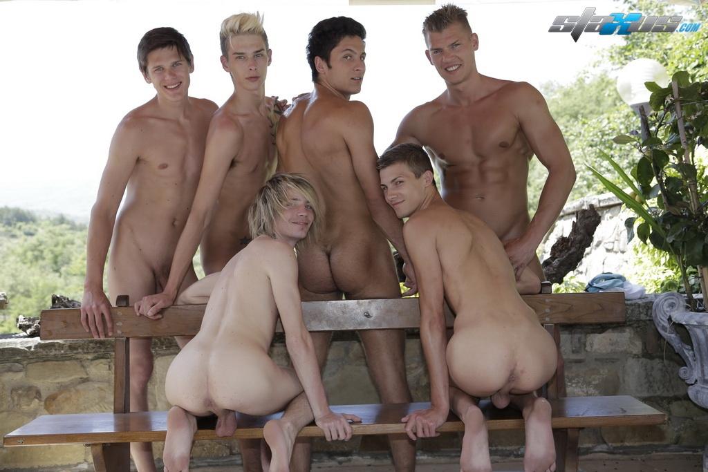 Bareback pool orgy